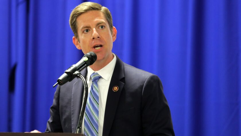 Newly elected US Congressman Mike Levin speaks during the MLK Day breakfast in Oceanside, hosted by