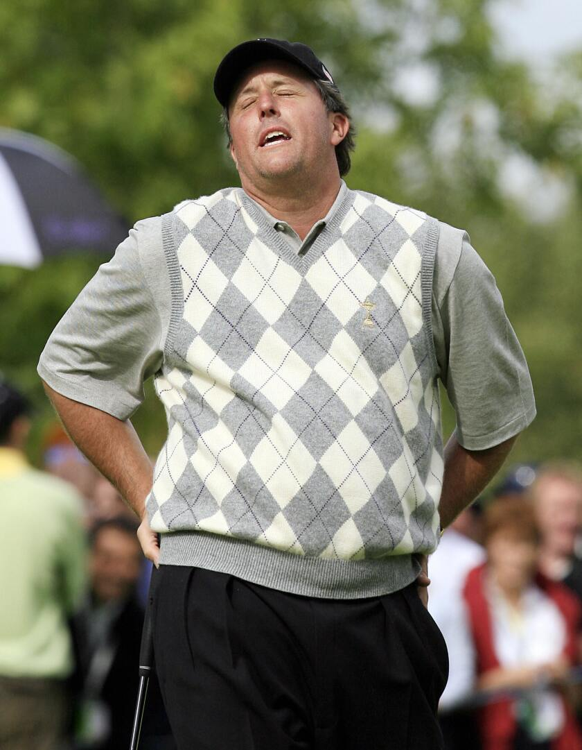 A heavier Phil Mickelson reacts during the 2006 Ryder Cup in Straffan, Ireland.