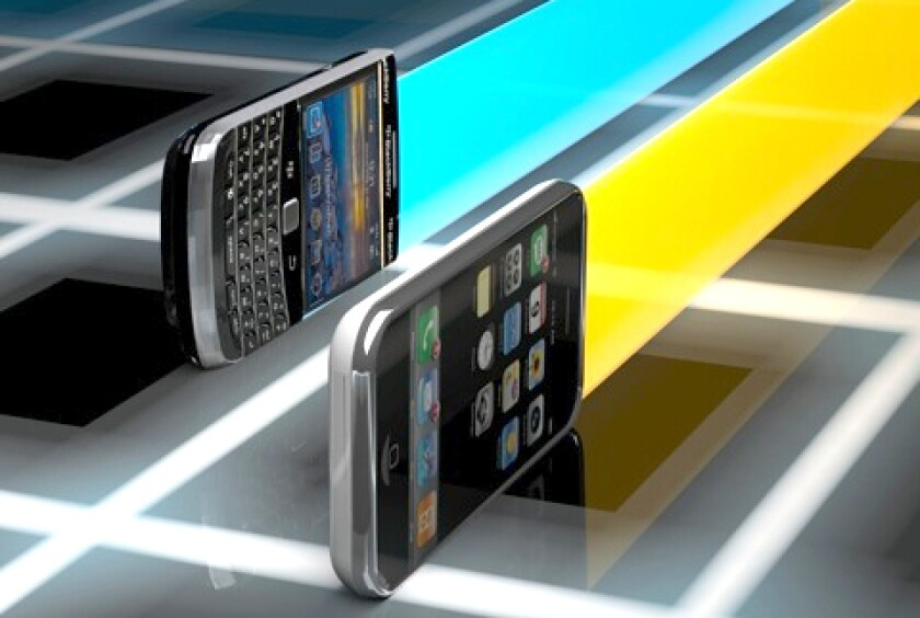 Apple's iPhone and Research In Motion's BlackBerry are racing for dominance in the world of smartphones.