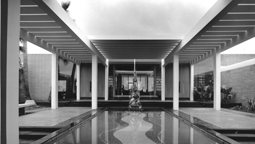"""Detail of Julius Shulman photo of the Palm Springs Bath House, part of """"Fast Forward: The Architecture of William F. Cody"""" at the Architecture and Design Museum in Los Angeles."""