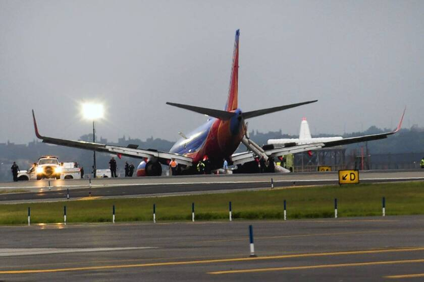 The landing gear of a Southwest Airlines Boeing 737 collapsed on landing at LaGuardia Airport in New York, causing minor injuries and temporarily closing the airport.