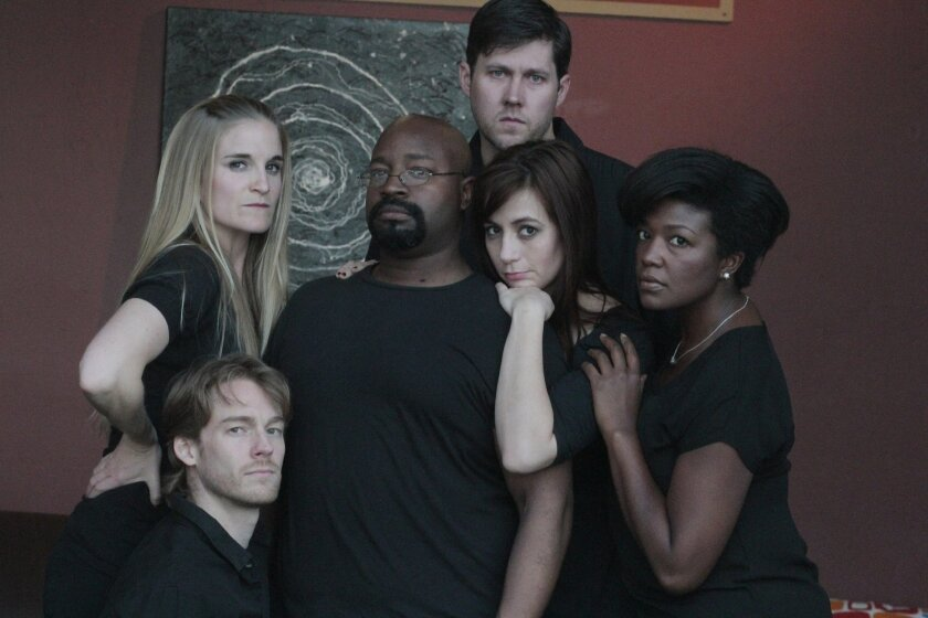 """The cast of New Village Arts' """"60 Minute Shakespeare: Macbeth"""" includes Samantha Ginn, Benjamin Cole, Durwood Murray, Rhianna Basore, Stephen Schmitz and Melissa Coleman-Reed (left to right)."""