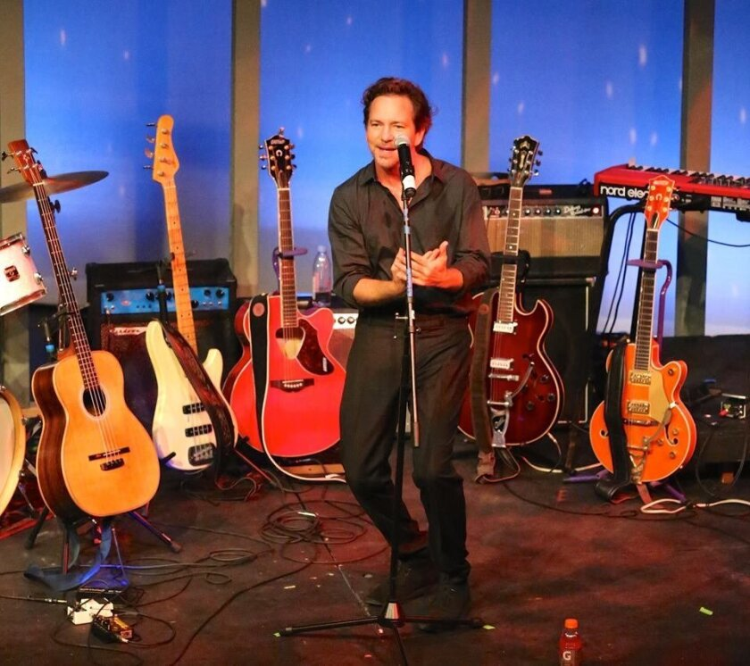 Rocker Eddie Vedder shared some of his  experiences and memories of attending San Dieguito High School in the early 1980s at a Feb. 20 alumni talent show.