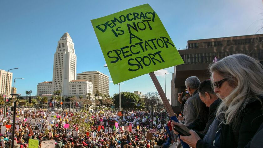 Thousands flooded downtown Los Angeles to take part in the women's march in January.