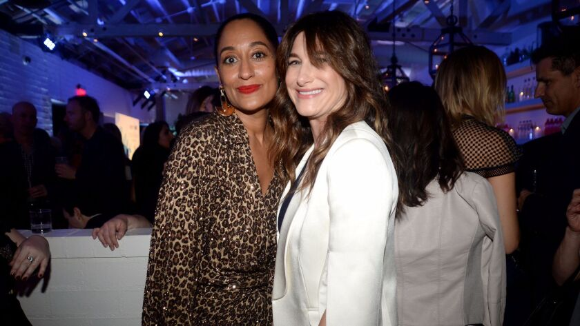 Emmy nominees Tracee Ellis Ross, left, and Kathryn Hahn attend the Variety and Women in Film 2017 Television annual nominee party at Gracias Madre in West Hollywood.