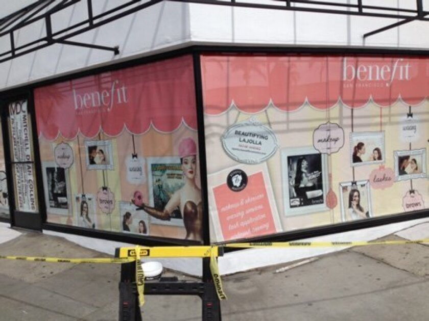 San Francisco-based Benefit Cosmetics is opening at the corner of Girard Avenue and Prospect Street.