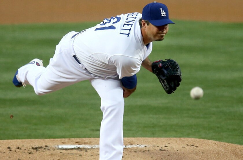 Josh Beckett is shaky in comeback as Dodgers lose to Tigers, 7-6