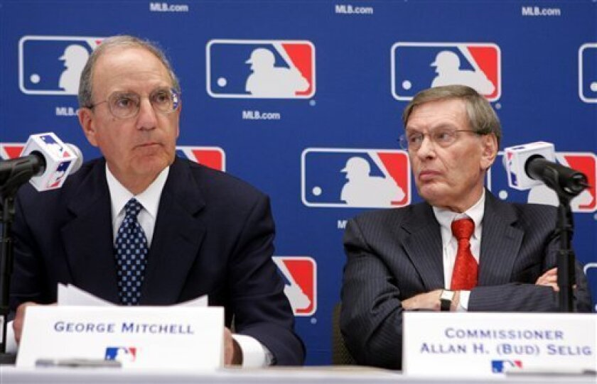 In this March 30, 2006 file photo, former Senate Majority Leader George Mitchell, left, is joined by Major League Baseball Commissioner Bud Selig during a news conference in New York. One year later, the stigma of the Mitchell Report has worn off for most players and baseball is convinced it has moved on. But has there been a permanent change, with less reliance on big boppers and greater focus on small ball, the kind played by the AL champion Tampa Bay Rays? Released last Dec. 13, 2007, the 409-page report on drugs in baseball by Mitchell cited seven MVPs, 31 All-Stars and about 85 players to differing degrees. (AP Photo/Mary Altaffer, File)
