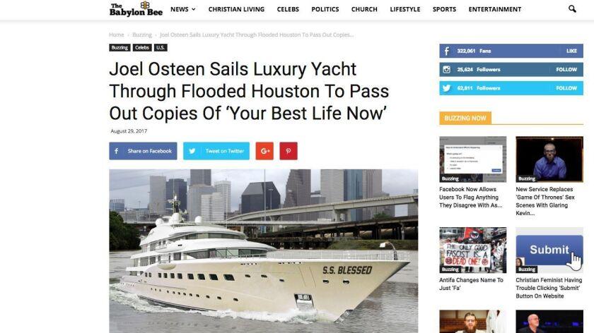 A satire website's story on Joel Osteen.