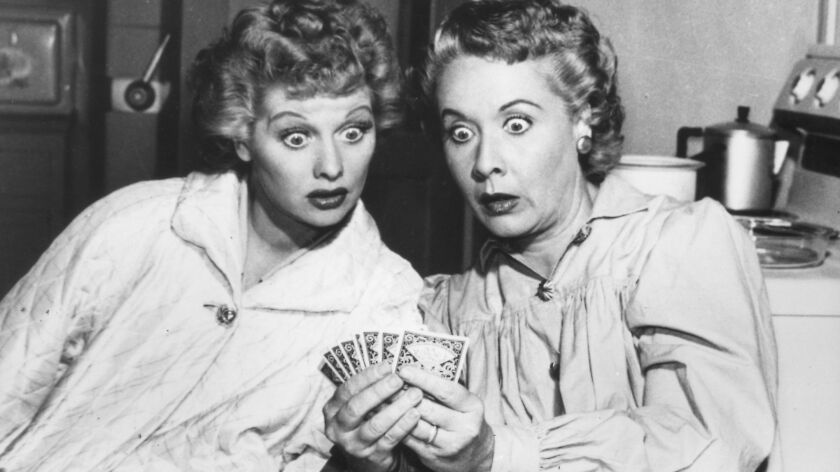 """Lucille Ball, left, and Vivian Vance as Lucy and Ethel on the """"I Love Lucy"""" show."""