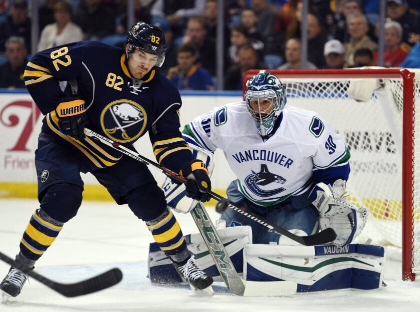 Buffalo Sabres left winger Marcus Foligno (82) tries to deflect an incoming shot on Vancouver Canucks goaltender Ryan Miller (30) during the first period of an NHL hockey game, Saturday Nov. 7, 2015 in Buffalo, N.Y. (AP Photo/Gary Wiepert)