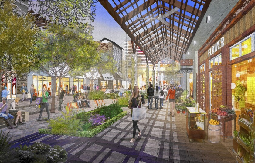 An artist's rendering of the Village at Westfield Topanga, which will include boutique stores, restaurants, a gym and a luxury spa. Work on the 550,000-square-foot open-air mall began Tuesday. It is slated to open in fall 2015.