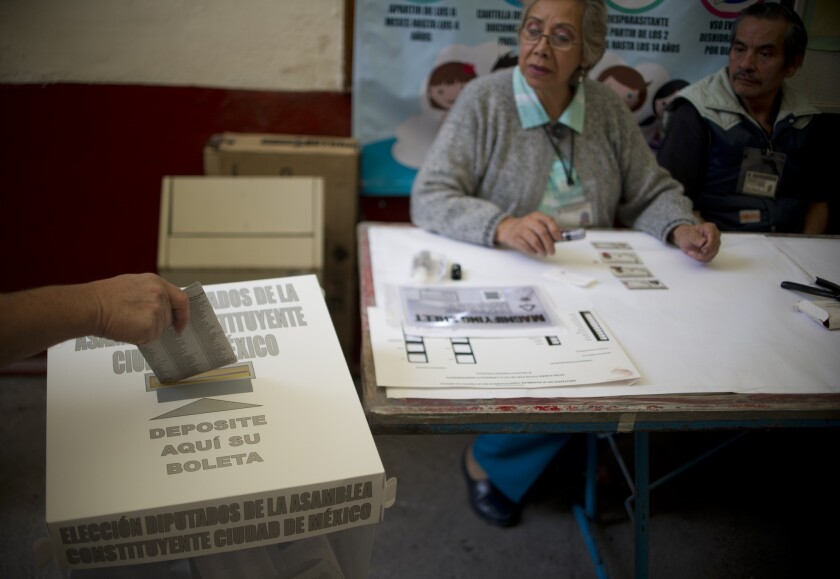 A polling place in Mexico City on June 5, 2016. The results of the local elections are widely viewed as a broad rejection of the ruling Institutional Revolutionary Party.