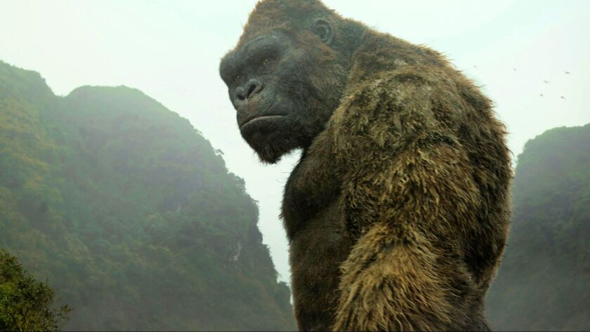 """Kong gets his close-up, but then must share the screen with other scary creatures in """"Kong: Skull Island."""""""