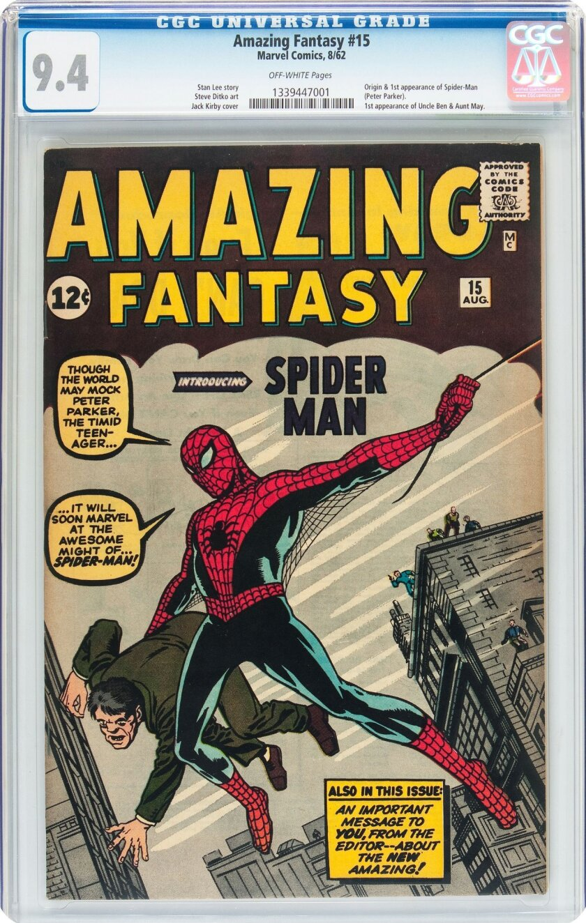 In this undated photo provided by Heritage Auctions in Dallas, Texas, shows a 1962 Amazing Fantasy #15 by Marvel Comics. The rare copy of a comic book featuring the first appearance of Spider-Man has sold at auction by Heritage for over $454 Thousand on Thursday, Feb. 18, 2016. (Heritage Auctions v
