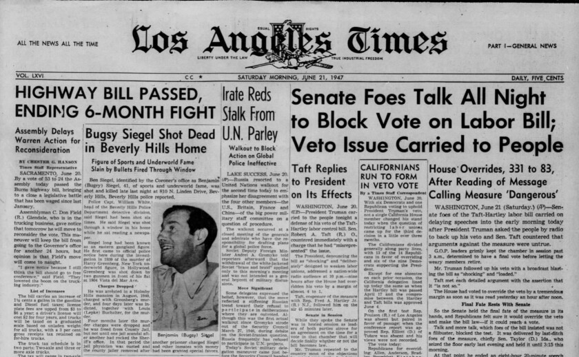 """The front page headline of the LA Times, June 21, 1947, reads: """"Bugsy Siegel shot dead in Beverly Hills home."""""""