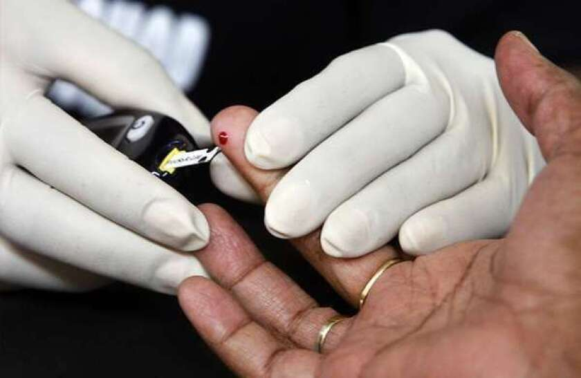 A man receives diabetes screening in Los Angeles. The U.S. Centers for Disease Control has reported that between 1995 and 2010, diabetes rates increased 50% or more in 42 states, and 100% or more in 18 states.