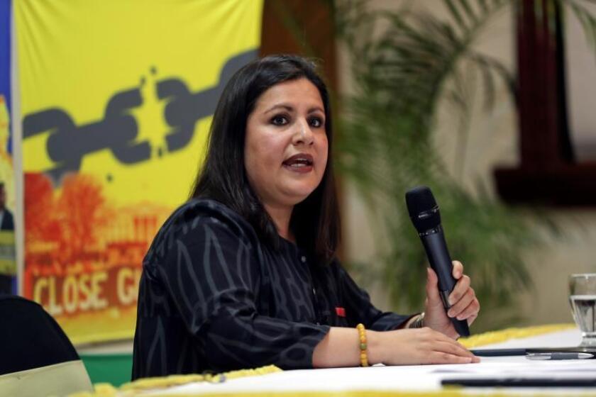 La directora para las Américas de Amnistía Internacional, Erika Guevara Rosas, habla durante una conferencia de prensa en Tegucigalpa (Honduras). EFE/ Gustavo Amador/Archivo