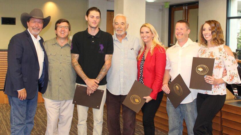 Mayor Steve Vaus with Dave Edmondson, John Barger, Mladen Nikolich, Jessica Parks, Chris Parks and S