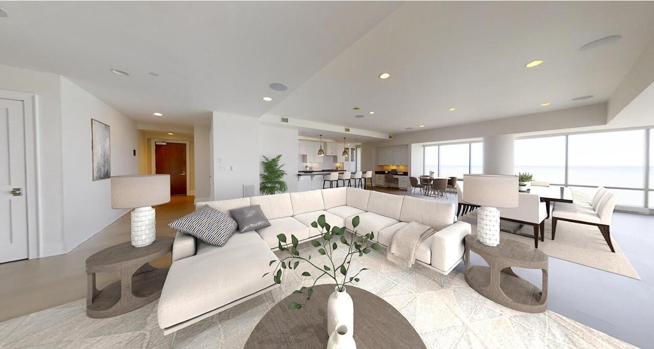 The three-bedroom condo enjoys lake views from its perch in a 33-story high-rise called Kilbourn Tower.