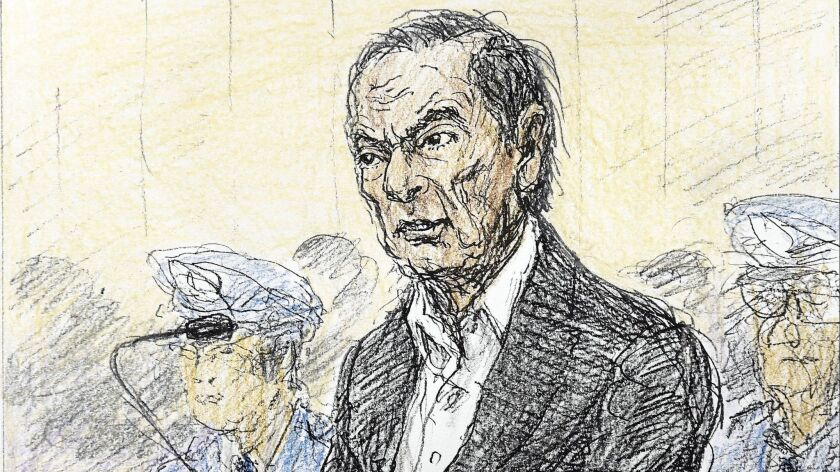 A courtroom sketch depicts former Nissan chairman Carlos Ghosn in Tokyo District Court on Jan. 8.