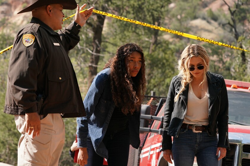 """Two women cross a police line in """"Big Sky"""" on ABC."""