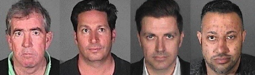 From left to right: The booking photos of ex-Coliseum general manager Patrick Lynch, ex-Coliseum events manager Todd DeStefano, Insomniac CEO Pasquale Rotella and Go Ventures CEO Reza Gerami.
