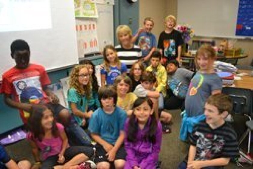 Suzie Shea with her third grade class.