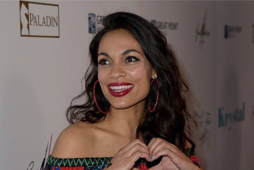 """Actress Rosario Dawson arrives at the premiere of Netflix's """"Krystal"""" at ArcLight Hollywood on April 5."""