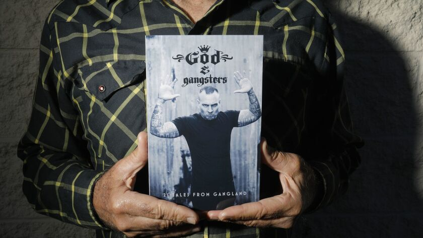 SAN MARCOS CA: March 28, 2018: Chris Ahrens, author of God & Gangsters, the stories of 25 gang m