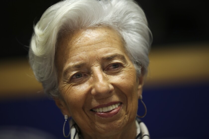 European Central Bank President Christine Lagarde arrives to a monetary dialogue meeting at the European Parliament in Brussels, Thursday, Feb. 6, 2020. (AP Photo/Francisco Seco)