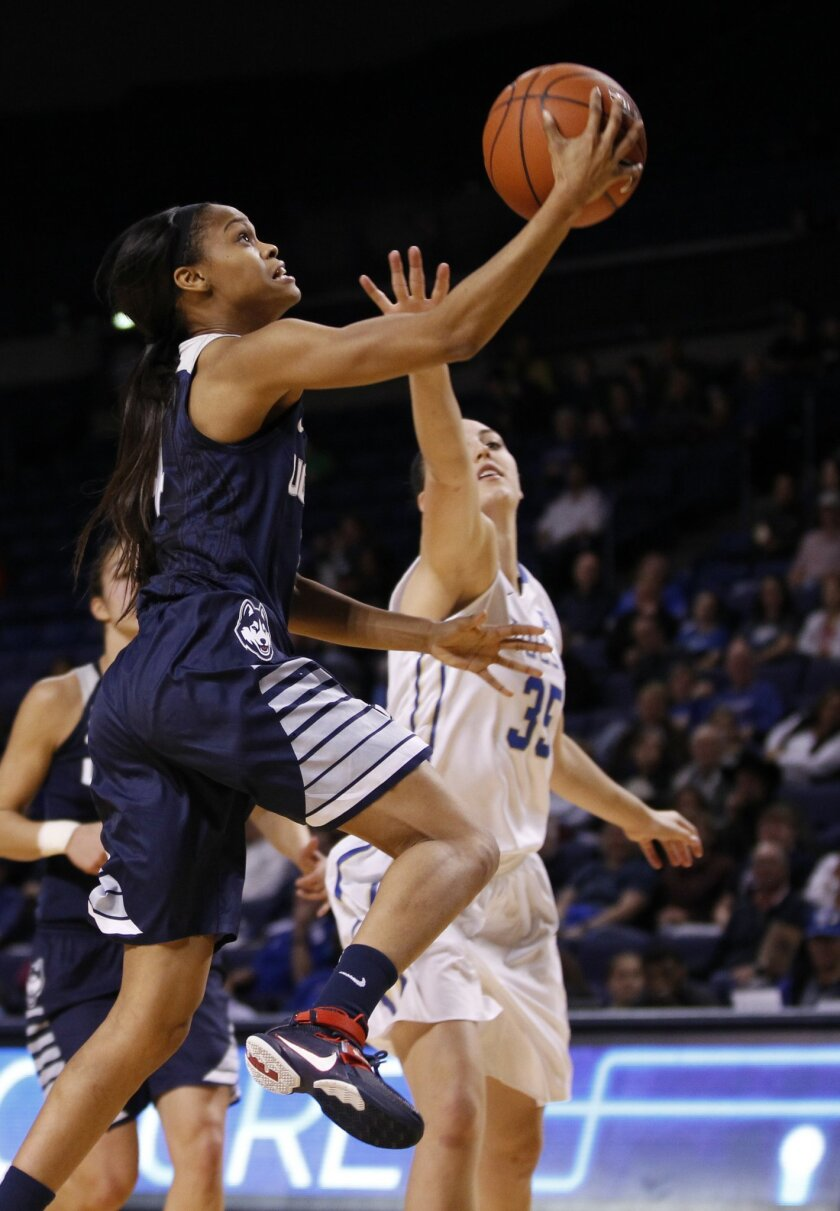 Connecticut's Moriah Jefferson drives to the basket against Tulsa's Liesl Spoerl in the first half of an NCAA college basketball game in Tulsa, Okla., Wednesday, Jan. 27, 2016. (AP Photo/Dave Crenshaw)