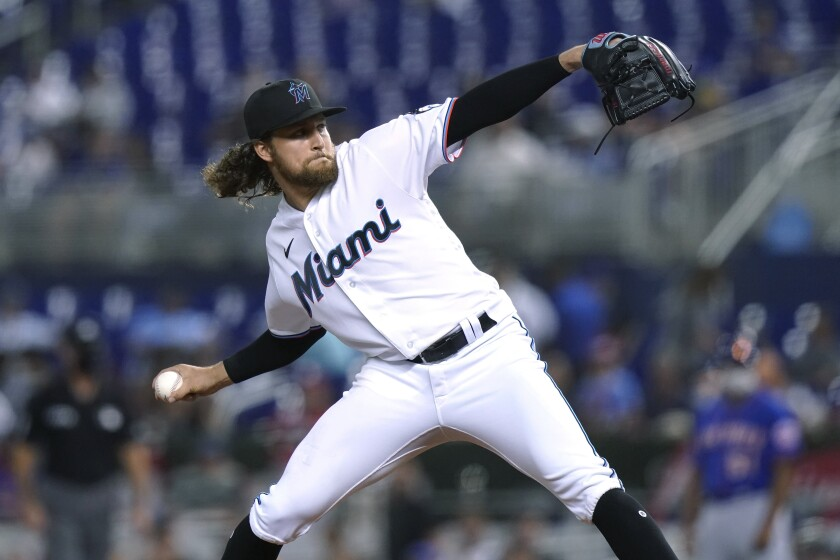 Miami Marlins starting pitcher Nick Neidert throws during the fourth inning of the team's baseball game against the New York Mets, Tuesday, Aug. 3, 2021, in Miami. (AP Photo/Lynne Sladky)