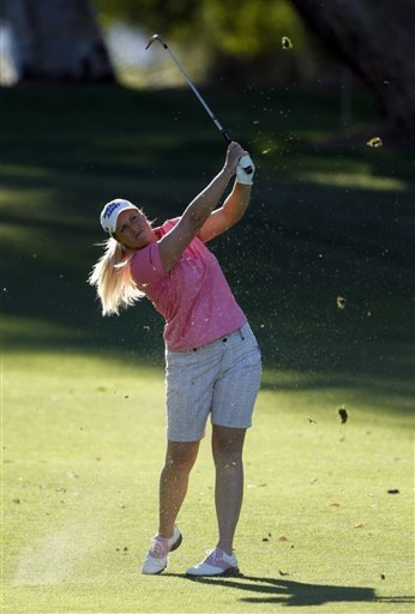 Brittany Lincicome hits to the ninth hole during the first round of the LPGA Kraft Nabisco Championship golf tournament in Rancho Mirage, Calif., Thursday, March 31, 2011. (AP Photo/Chris Carlson)