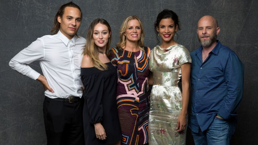 Frank Dillane (from left), Alycia Debnam-Carey, Kim Dickens and Dave Erickson from Fear the Walking dead are expected at Comic-Con 2017. Danay Garcia (second from right) did not make the list.
