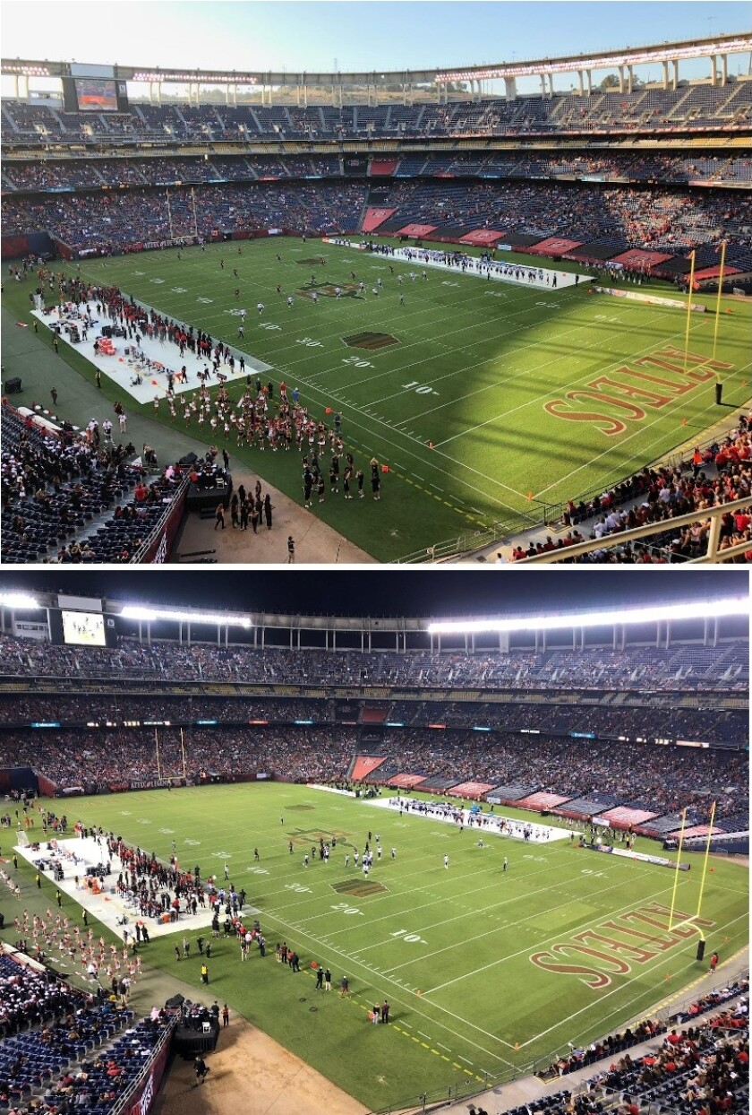 The crowd at SDCCU Stadium for SDSU's football game against Weber State, at kickoff (top) and midway through the fourth quarter (bottom).