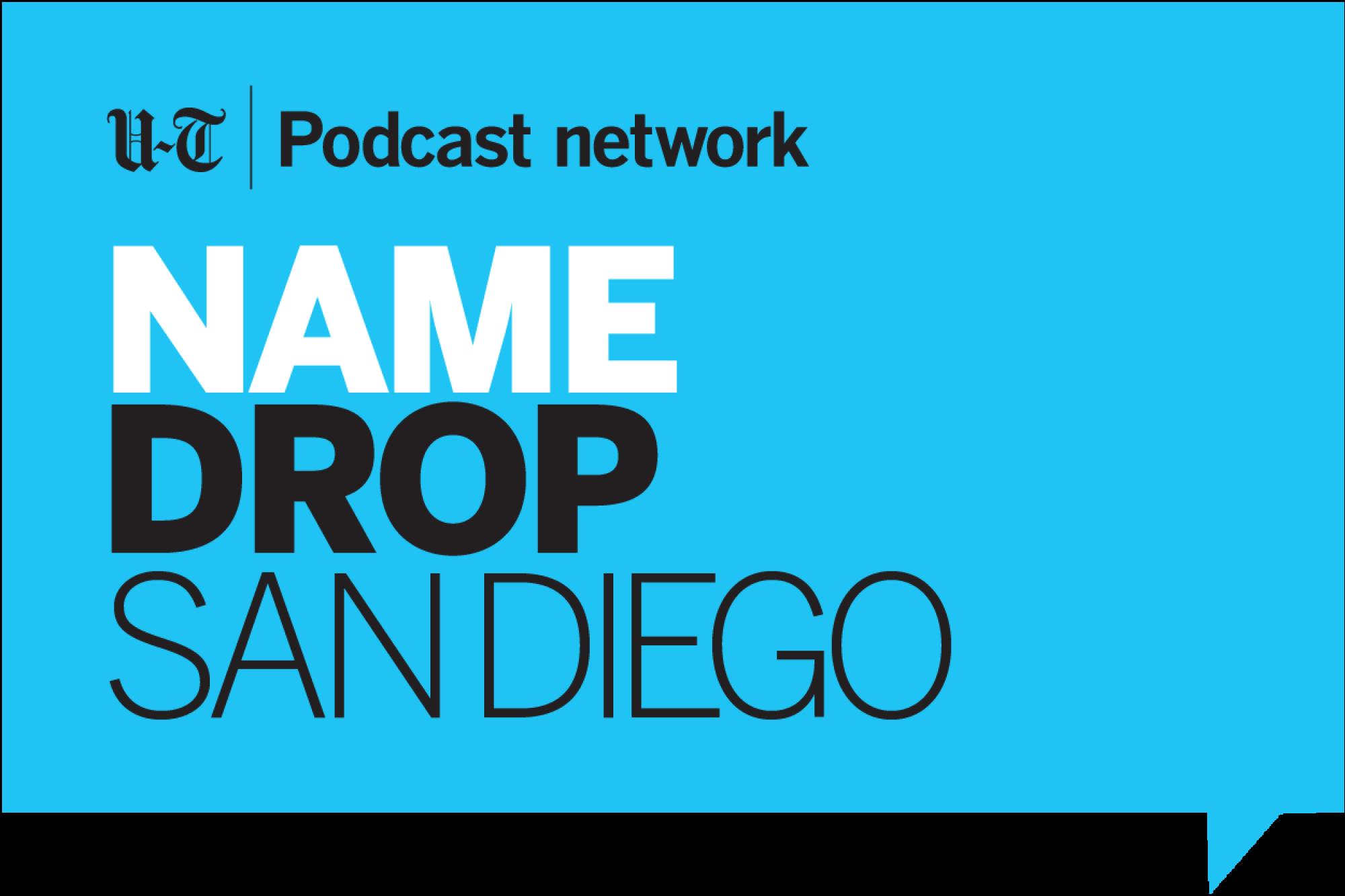 the name drop san diego logo