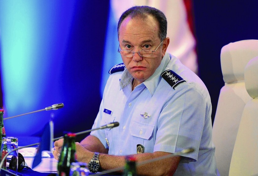 """Gen. Philip Breedlove, pictured in 2013, warned that the Russian military force gathered near the Ukrainian border was """"very, very sizable and very, very ready."""""""