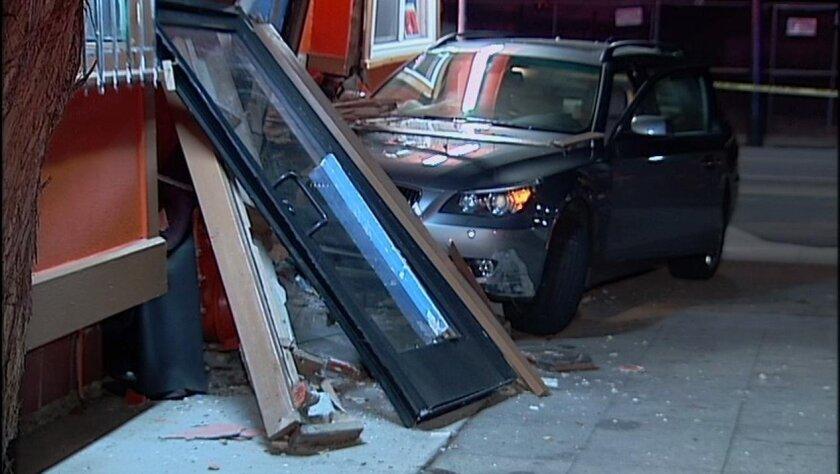 A car crashed into a North Park taco shop Friday.