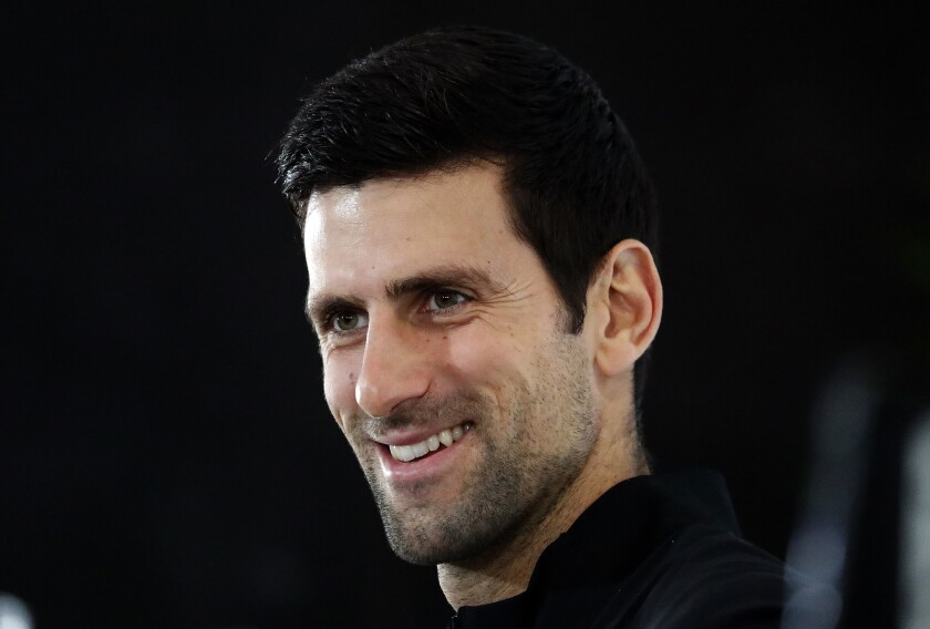 FILE - In this Friday, Nov. 9, 2018, file photo, Novak Djokovic of Serbia speaks during a press conference before the official launch of the ATP Tennis finals in London. Djokovic is ranked No. 1 heading into the French Open. (AP Photo/Frank Augstein, File)