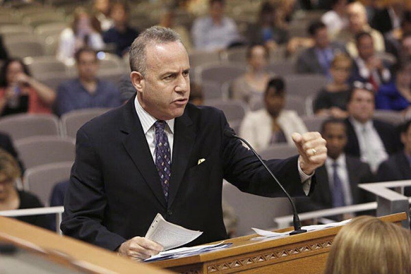 State Senate President Pro Tem Darrell Steinberg (D-Sacramento) speaking against Gov. Jerry Brown's prison bill last week.