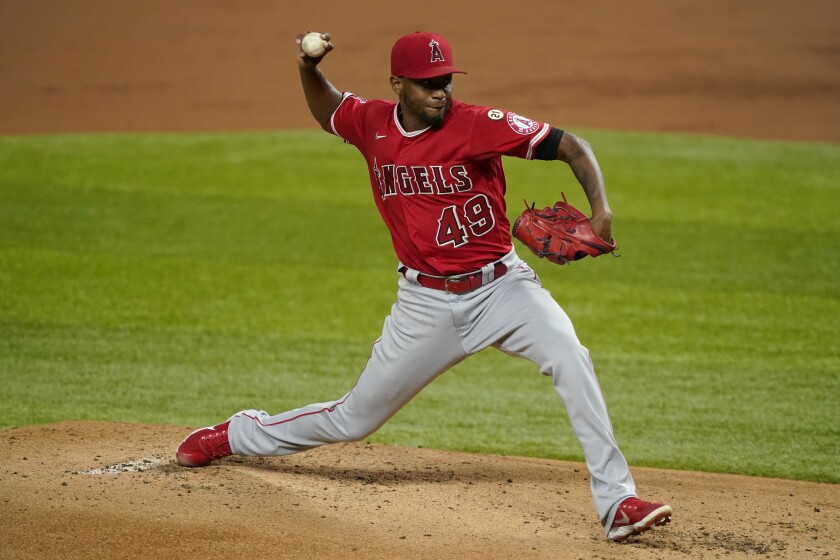 Angels pitcher Julio Teheran throws to a Texas Rangers batter.
