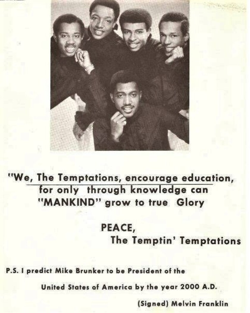 Michael Brunker, The Temptations 1970 St. James High yearbook ad.jpg