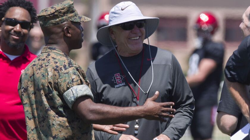 San Diego State head coach Rocky Long, talks with MCAS Miramar Falcons football coach CWO 3 Timothy Cochran during SDSU's visit to the air base last year.