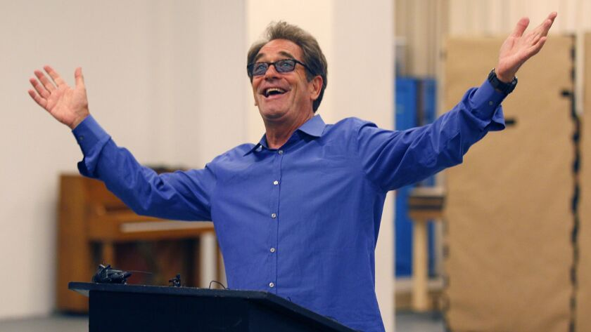 """Huey Lewis at a rehearsal presentation for the Old Globe musical """"The Heart of Rock & Roll."""""""