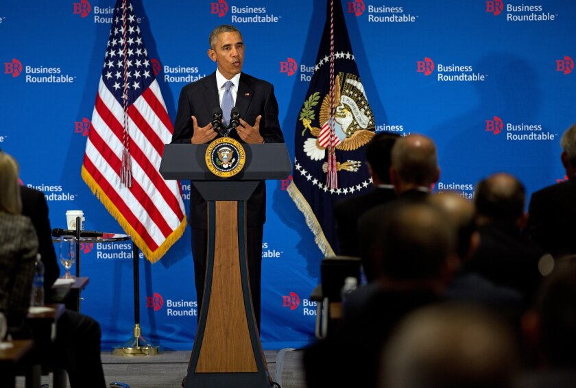 President Obama at an appearance with business leaders last month at which he touted the benefits of trade. Obama will need the support of business groups to win congressional approval of a proposed Pacific trade deal.