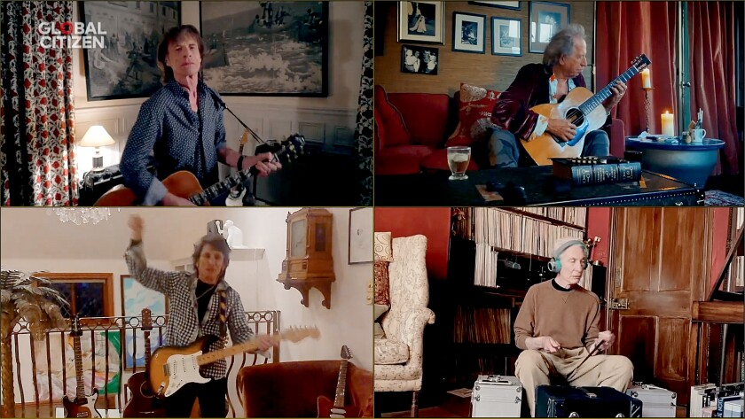 """In this screengrab, Mick Jagger, Keith Richards, Ronnie Wood and Charlie Watts of the Rolling Stones perform during """"One World: Together at Home"""" presented by Global Citizen on April, 18. The global broadcast and digital special was held to support front-line health care workers and the COVID-19 Solidarity Response Fund for the World Health Organization."""