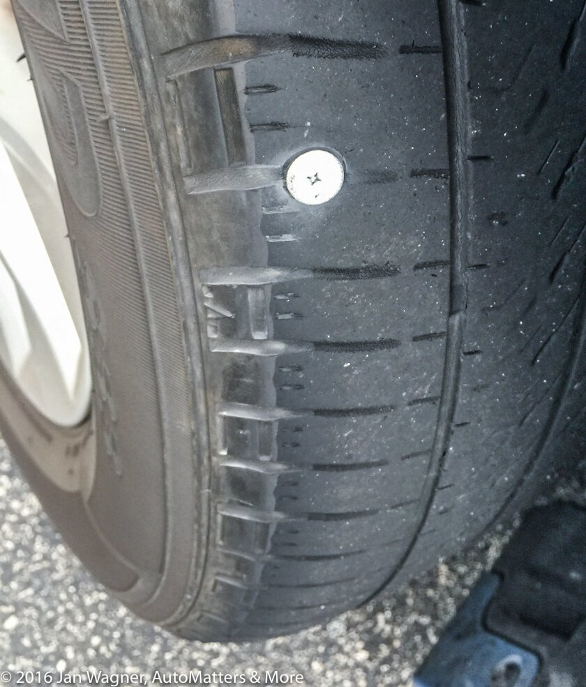 Tire punctured by screw