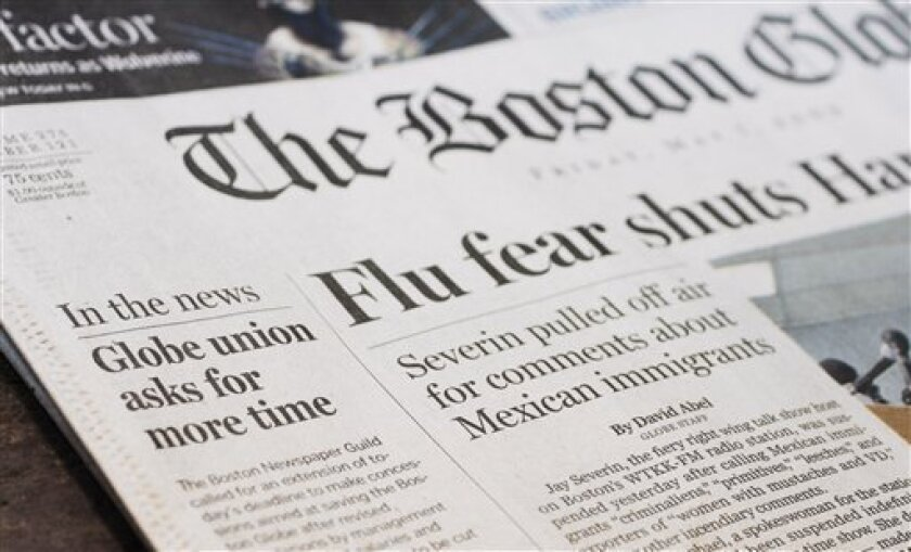 A front page news brief highlights the deadline for reaching an agreement on $20 million in concessions from the unions at The Boston Globe Friday, May 1, 2009, in Boston. Leaders of The Globe's largest union have reportedly asked the newspaper's owners to extend the deadline. (AP Photo/Bill Sikes)