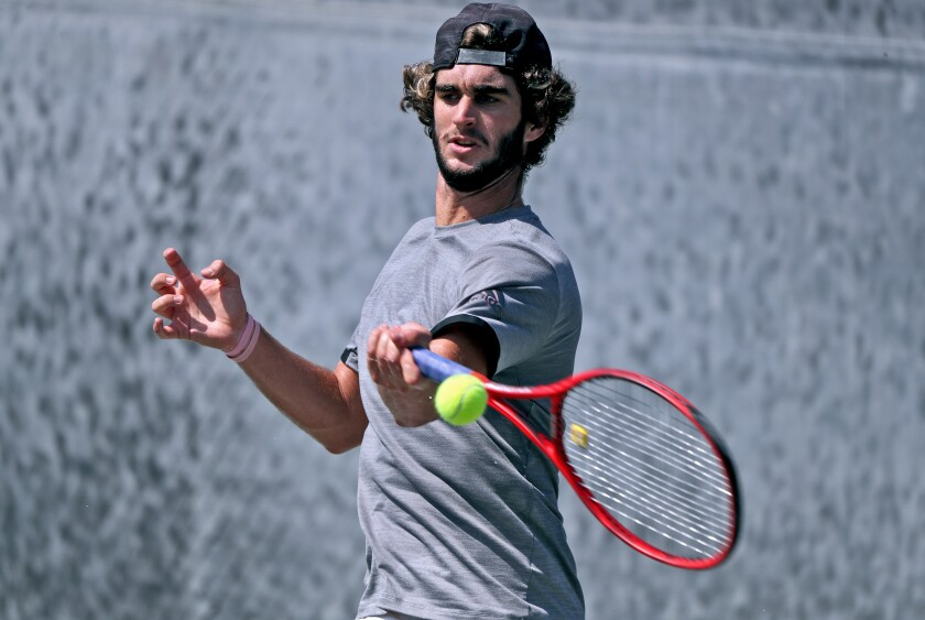 Max McKennon practices at the Racquet Club of Irvine on Sept. 23 for the French Open.